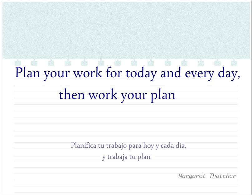 planificar trabajo Thatcher
